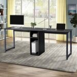 New Home Office Dual Person Computer Desk with Two-layer Shelf and Wire Management Grommet – Black
