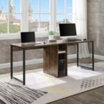 New Home Office Dual Person Computer Desk with Two-layer Shelf and Wire Management Grommet – Tiger