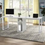New Home Office Dual Person Computer Desk with Two-layer Shelf and Wire Management Grommet – White