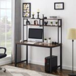 New Home Office Computer Desk with Three-dimensional Shelf – Brown