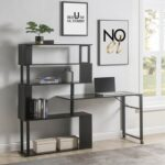 New Home Office L-Shaped Rotating Computer Desk, with Five-layer Shelf – Black