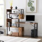 New Home Office L-Shaped Rotating Computer Desk, with Five-layer Shelf – Tiger