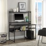 New Home Office Computer Desk with Bookshelf & Detachable Display Riser & CPU Bracket – Black