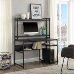New Home Office Computer Desk with Bookshelf & Detachable Display Riser & CPU Bracket – Black