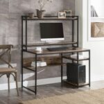 New Home Office Computer Desk with Bookshelf & Detachable Display Riser & CPU Bracket – Brown