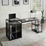 New Home Office Computer Desk with 2-layer Storage Shelf & CPU Storage Space – Black