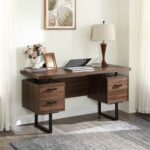 New Home Office Computer Desk with Three File Drawers, U-shaped Metal Legs – Walnut