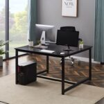 New Home Office Extra Large Computer Desk, 47 x 47 inch Two Person Double Workstation Desk,Office Desk Writing Desk – Black
