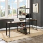New Home Office Two Person Computer Desk with Four-layer Shelf, Extra Large Double Workstations Office Desk – Brown