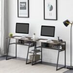New Dual Person Office Computer Desk, with Open Bookshelf and Double Shelf, Easy to Clean – Gray Brown
