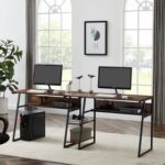 New Dual Person Office Computer Desk, with Open Bookshelf and Double Shelf, Easy to Clean – Tiger