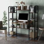 New Home Office Computer Desk with Two Four-layer Shelves and Two Partitions – Tiger