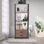 New Home Office Standing Bookshelf Storage Cabinet with Four-layer Open Shelf and Two Drawers – Brown