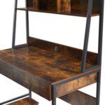 New Home Office Computer Desk with Locker and Open Top Shelf – Tiger
