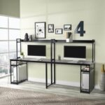 New Home office Dual Person Computer Desk with Two-layer Shelf and Open Top Partition – Black