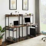 New Home Office Dual Person Computer Desk with CPU Bracket and Top Shelf – Brown