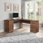New Home Office L-shaped Corner Computer Desk with Three Drawers and Storage Cabinet – Walnut