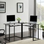 New L-Shaped Glass Desk, 56'' Home Office Computer Desk with Shelf, Round Corner Glass Workstation Desk, Black