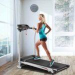 New 1200W Electric Treadmill Folding Motorized Running Machine 5″ LED Display 3 Modes and 12 Automatic Programs Hand Pulse Sensor  -Black