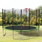 New 【Not allowed to sell to Walmart】14-Feet Round Trampoline with Safety Enclosure, Basketball Hoop and Ladder(原SM000010FAA)