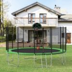New 【Not allowed to sell to Walmart】16FT Round Trampoline with Safety Enclosure Net & Ladder, Spring Cover Padding, Basketball Hoop, Outdoor Activity