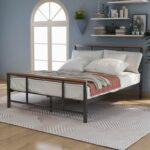 New Full Size Metal Bed Frame with Pine Wood Headboard and Footboard – Black