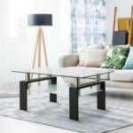 New Household Rectangular Glass Coffee Table, Dual Storey, Easy to Clean – Black