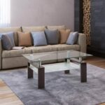 New Household Rectangular Glass Coffee Table, Dual Storey, Easy to Clean – Black Walnut