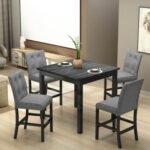 New TOPMAX 5 Pieces of Dining Set, with Solid Wood Square Table & 4 * Upholstered High-back Chairs