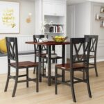 New TOPMAX 5 Pieces of Rubber Wood Dining Set, with Double-layer Shelves & 4 * Matching Chairs – Black