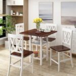 New TOPMAX 5 Pieces of Rubber Wood Dining Set, with Double-layer Shelves & 4 * Matching Chairs – White
