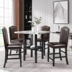 New TOPMAX 5 Pieces of Rubber Wood Dining Set, with Shelf & 4 * Matching Chairs