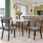 New TOPMAX 5 Pieces of Dining Set, with Wooden Square Table & 4 * Upholstered Chairs – Gray