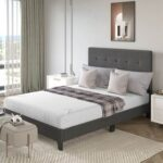 New TOPMAX Upholstered Platform Bed Frame with Wooden Slat Support and Tufted Headboard Full Size (Only Frame) – Dark Grey