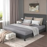New TOPMAX Upholstered Platform Bed Frame with Wooden Slat Support and Tufted Headboard King Size (Only Frame) – Dark Grey