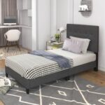 New TOPMAX Upholstered Platform Bed Frame with Wooden Slat Support and Tufted Headboard Twin Size (Only Frame) – Dark Grey
