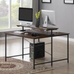 New Home Office 47″ Dual Person Computer Desk with Display Riser, Face-to-face Use – Brown