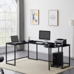 New U-shaped Computer Desk, Industrial Corner Writing Desk with CPU Stand, Gaming Table Workstation Desk for Home Office – Black