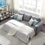 New 91″ L-shaped Corner Multifunctional Pull-out Sofa Bed Lying and Sitting 2-in-1 with Storage Space, 3 Seats – Gray