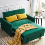 New 55″ Velvet Multifunctional Pull-out Sofa Bed Lying and Sitting 2-in-1 with 2 Pillows and Wheels, 2 Seats – Green