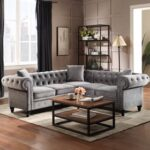 New 80″ L-shaped Velvet Upholstered Sofa Chesterfield Design with Roll Arm and 3 Pillows Suitable for Five People – Gray