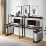 New Home office Dual Person Computer Desk with Two-layer Shelf and Open Top Partition – Wood