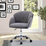 New COOLMORE Velvet Swivel Chair Height Adjustable with Curved Backrest and Casters for Living Room, Bedroom, Office – Grey