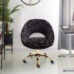 New COOLMORE Velvet Rotating Chair Height Adjustable with Curved Backrest and Casters for Living Room, Bedroom, Office – Black