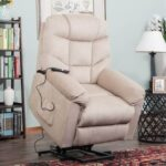 New Orisfur Polyester Fabric Upholstered Electric Lift Recliner with High Backrest and Remote Control for Home Theater, Office, Living Room – Beige