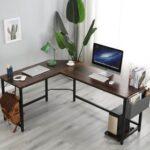 New Home Office L-Shape Corner Wooden Computer Desk with Metal Frame – Oak