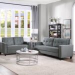 New Orisfur 2+3-Seat Sectional Velvet Upholstered Sofa Set with Ergonomic Backrest and Wooden Legs for Living Room, Bedroom, Office, Apartment – Grey