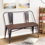 New TREXM Rustic Vintage Style Distressed Dining Bench with Wooden Seat Panel and Metal Backrest and Legs for Kitchen, Living Room, Cafe, Reception Room – Brown