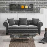 New 80″ Velvet Upholstered Sofa Chesterfield Design with Roll Arm and 3 Pillows Suitable for Three People – Gray