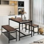 New TOPMAX 4 Pieces Rustic Dining Set, Including 1 MDF Table, 2 Stools and 1 Bench for Kitchen, Living Room, Cafe, Reception Room – Brown